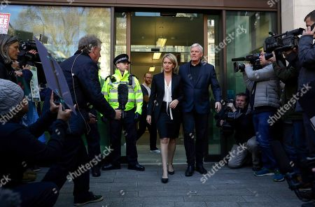 Kristinn Hrafnsson, editor of WikiLeaks, right, and barrister Jennifer Robinson arrive to speak to the media outside Westminster magistrates court where WikiLeaks founder Julian Assange was appearing in London, . Police in London arrested WikiLeaks founder Assange at the Ecuadorean embassy Thursday, April 11, 2019 for failing to surrender to the court in 2012, shortly after the South American nation revoked his asylum