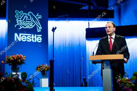 Nestle's CEO Ulf Mark Schneider speaks during the general meeting of the world's biggest food and beverage company Nestle Group in Lausanne, Switzerland, 11 April 2019.
