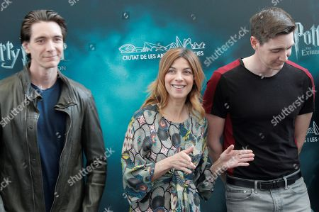 Harry Potter film series' cast members James Phelps (L), Natalia Tena and Oliver Phelps (R) pose for the photographers during the presentation of the exhibition 'Harry Potter. The Exhibition' at Sciences Museum in Valencia, eastern Spain, 11 April 2019. The exhibition, featuring several items of the movies, opens next 13 April.