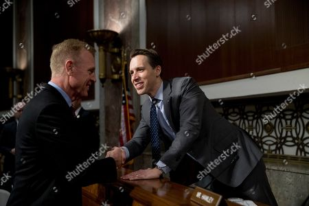Patrick Shanahan, Josh Hawley. Acting Defense Secretary Patrick Shanahan, left, greets Sen. Josh Hawley, R-Miss., right, before a Senate Armed Services Committee hearing on Capitol Hill in Washington, on the proposed Space Force
