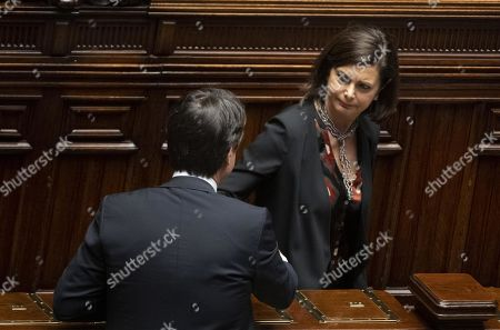 Italian Prime Minister Giuseppe Conte (rear view) and Laura Boldrini of Liberi e Uguali Party during a report about Libya at Italian Parliament in Rome, 11 April 2019.