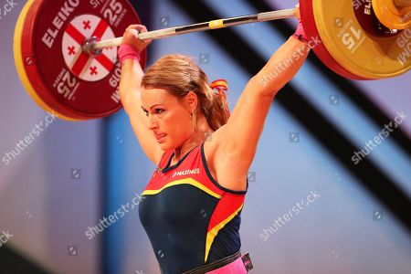 Lidia Valentin of Spain in action during the women's -76kg category final at the Weightlifting European Championships in Batumi, Georgia, 11 April 2019.
