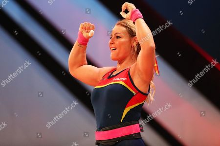 Lidia Valentin of Spain reacts during the women's -76kg category final at the Weightlifting European Championships in Batumi, Georgia, 11 April 2019.