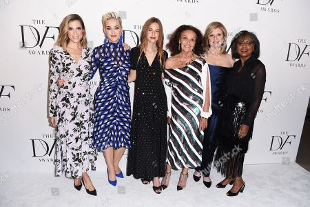 Allison Williams, Katy Perry, Talita von Furstenberg, Diane von Furstenberg, Arianna Huffington, and Anita Hill