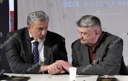 Aleksandr Sokurov (R) poses before he recives the Golden Olive Tree (Ulivo d'Oro) trophy next The president of the Puglia Region, Michele Emiliano (L), during a photocall as part of the European Film Festival in Lecce, Puglia region, southern Italy, 11 April 2019. The festival runs from 08 to 13 April.