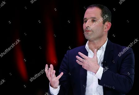 Left wing Generations party candidate for the Euopean parliamentary elections, Benoit Hamon speaks during a debate organized by the Mutualite Francaise for French candidates for the upcoming European Parliamentary elections, in Paris, France, 11 April 2019. The European Parliament elections will be held between 23 and 26 May 2019.