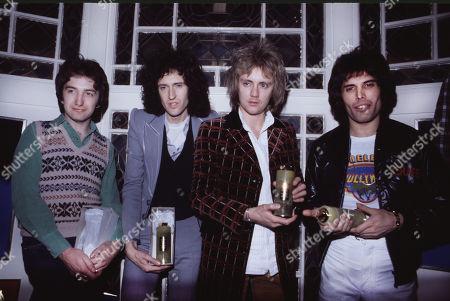 Roger Taylor, Freddie Mercury, Brian May, John Deacon winning a Brit Award for Bohemian Rhapsody