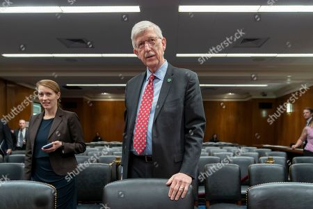 National Institutes of Health Director Francis S. Collins arrives to testify before a Senate Appropriations subcommittee on his fiscal year 2020 funding requests, on Capitol Hill in Washington
