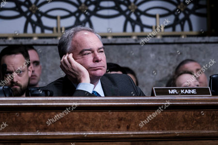 Senator Tim Kaine (D-VA) looks on during testimony about the proposal to establish a United States Space Force, before the  United States Senate Committee on Armed Services in Washington, DC, USA,  on 11 April 2019.