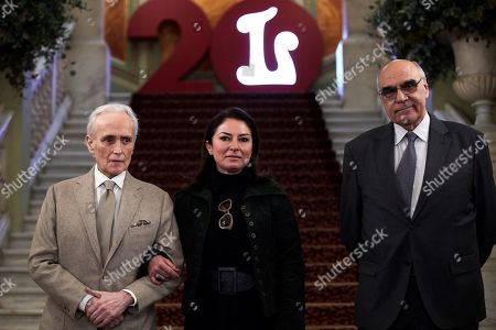 Spanish soprano Montserrat Martin (C), daughter of Montserrat Caballe, Spanish tenor Jose Carreras (L) and President of the Patronage of the Gran Teatro del Liceu theater Salvador Alemany (R) attend a press conference on the eve of the concert in tribute to Spanish soprano Montserrat Caballe at Gran Teatro del Liceu theater in Barcelona, Catalonia, Spain, 11 April 2019. The concert will be directed by Lluis Pasqual.