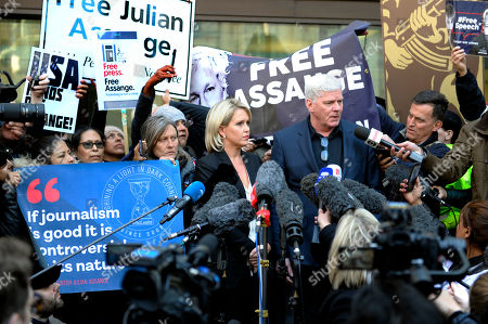 Representatives of Wikileaks founder Julian Assange, Wikileaks Editor in Chief Kristinn Hrafnsson (C-R) and Barrister Jennifer Robinson (C-L) address the media outside Westminster Magistrates Court