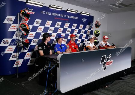 (L-R) American Racing KTM Team rider Joe Roberts of the US, Team Suzuki Ecstar Team rider Alex Rins of Spain, Mission Winnow Ducati Team rider Andrea Dovizioso of Italy, Repsol Honda Team rider Marc Marquez of Spain, Monster Energy Yamaha MotoGP Team rider Valentino Rossi of Italy, and Alma Pramac Racing Team rider Jack Miller of Australia during a press conference before the MotoGP race at the Red Bull Grand Prix of the Americas at Circuit of the Americas in Austin, Texas, USA 11 April 2019.