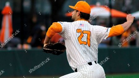 Tennessee pitcher Garrett Stallings (27) delivers the pitch during an NCAA college baseball game, in Knoxville, Tenn