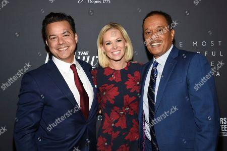 John Avlon, Margaret Hoover, Juan Williams. Television journalists John Avlon, left, Margaret Hoover and Juan Williams attend The Hollywood Reporter's annual Most Powerful People in Media cocktail reception at The Pool, in New York