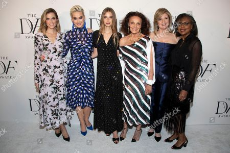 Allison Williams, Katy Perry, Talita von Furstenberg, Diane von Furstenberg, Arianna Huffington, Anita Hill. Allison Williams, from left, Katy Perry, Talita von Furstenberg, Diane von Furstenberg, Arianna Huffington and Anita Hill attend the 10th annual DVF Awards at the Brooklyn Museum, in the Brooklyn borough of New York