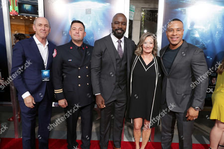 Stock Picture of Chris Aronson, president of domestic distribution for 20th Century Fox Film, Tommy Shine, Mike Colter, Elizabeth Gabler, president of Fox 2000, DeVon Franklin, Producer,