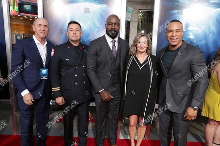 Stock Image of Chris Aronson, president of domestic distribution for 20th Century Fox Film, Tommy Shine, Mike Colter, Elizabeth Gabler, president of Fox 2000, DeVon Franklin, Producer,