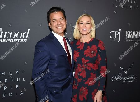 John Avlon, Margaret Hoover. Television commentator Margaret Hoover, right, and husband New Day anchor John Avlon attend The Hollywood Reporter's annual Most Powerful People in Media cocktail reception at The Pool, in New York
