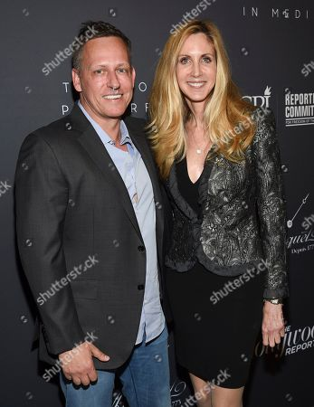 Stock Picture of Peter Thiel, Ann Coulter. PayPal co-founder Peter Thiel, left, and political commentator Ann Coulter attend The Hollywood Reporter's annual Most Powerful People in Media cocktail reception at The Pool, in New York