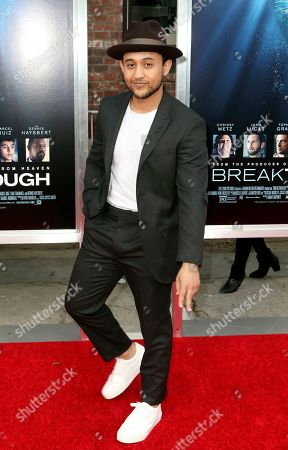 "Tahj Mowry arrives at the LA Premiere of ""Breakthrough"" at the Regency Village, in Los Angeles"