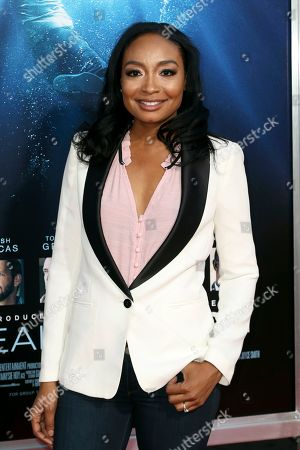 """Stock Image of Malina Moye arrives at the LA Premiere of """"Breakthrough"""" at the Regency Village, in Los Angeles"""