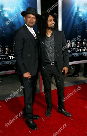 """Mario Van Peebles, Makaylo Van Peebles. Mario Van Peebles, left, and son Makaylo Van Peebles arrive at the LA Premiere of """"Breakthrough"""" at the Regency Village, in Los Angeles"""