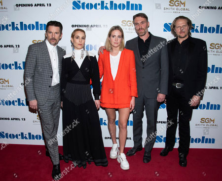 "Ethan Hawke, Noomi Rapace, Bea Santos, Robert Budreau, Ian Matthews. Ethan Hawke, left, Noomi Rapace, Bea Santos, Robert Budreau and Ian Matthews attend the premiere of ""Stockholm"" at the Museum of Modern Art, in New York"