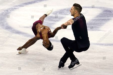 France's Vanessa James and Morgan Cipres perform their pairs short program during the ISU World Team Trophy Figure Skating competition in Fukuoka, southwestern Japan