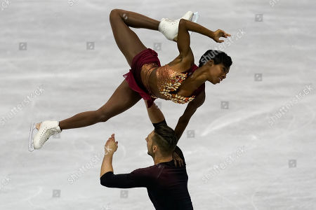 France's Vanessa James and Morgan Cipres perform their pairs short program during the ISU World Team Trophy Figure Skating competition, in Fukuoka, southwestern Japan