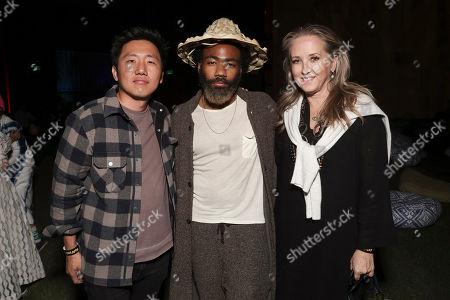 Hiro Murai, Donald Glover and Jennifer Salke attend the Amazon Prime Video Guava Island Premiere at the Coachella Grounds