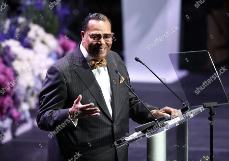 Honorable Minister Louis Farrakhan, National Representative of The Honorable Elijah Muhammad and The Nation of Islam, speaks onstage during Nipsey Hussle's Celebration of Life at the Staples Center in Los Angeles, California, USA, 11 April 2019. Nipsey Hussle was shot and killed in front of his store, The Marathon Clothing, on March 31, 2019 in Los Angeles.