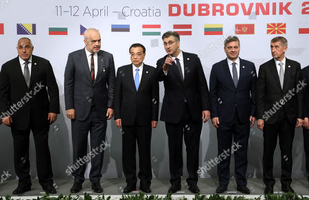 Bulgarian Prime Minister Boyko Borisov, Albanian Prime Minister Edi Rama, Chinese Prime Minister Li Keqiang, Croatian Prime Minister Andrej Plenkovic, Bosnian Prime Minister Denis Zvizdic and Czech Prime Minister Andrej Babis pose for a group photo of the Prime Ministers of States at the 8th Summit of Heads of Government of Central and Eastern European Countries and China (16+1 Initiative) in Dubrovnik, Croatia, 12 April 2019.