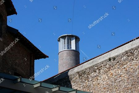 Stock Image of View of an observation tower at Paris' mythic La Sante prison during a press visit for the official inauguration after a four-year renovation project in Paris, . Opened in 1867, the massive brown edifice in Paris' 14th district has held some of France's most notorious criminals, including international terrorist Carlos The Jackal, Nazi collaborator Maurice Papon, and rogue trader Jerome Kerviel