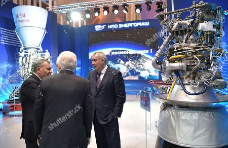 Russian Deputy Prime Minister Yury Borisov (L) and Roscosmos State Space Corporation Director General Dmitry Rogozin (R) wait for Russian President Vladimir Putin (not pictured) to arrive at  the NPO Energomash enterprise developing and producing liquid rocket engines for space launch vehicles in Khimki, Moscow region, Russia, 12 April 2019, on the Cosmonautics Day dedicated to the first manned space flight. On 12 April 1961 Soviet cosmonaut Yuri Gagarin circled the Earth for 108 minutes aboard the Vostok 1 spacecraft.