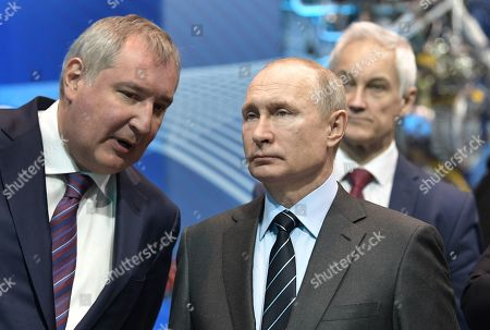 Roscosmos State Space Corporation Director General Dmitry Rogozin (L) and Russian President Vladimir Putin (front R) visit the NPO Energomash enterprise developing and producing liquid rocket engines for space launch vehicles in Khimki, Moscow region, Russia, 12 April 2019, on the Cosmonautics Day dedicated to the first manned space flight. On 12 April 1961 Soviet cosmonaut Yuri Gagarin circled the Earth for 108 minutes aboard the Vostok 1 spacecraft.