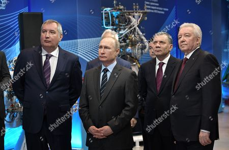 (L-R) Roscosmos State Space Corporation Director General Dmitry Rogozin, Russian President Vladimir Putin, Russian Deputy Prime Minister Yuri Borisov and JSC 'NPO Energomash' Director General Igor Arbuzov visit the NPO Energomash enterprise developing and producing liquid rocket engines for space launch vehicles in Khimki, Moscow region, Russia, 12 April 2019, on the Cosmonautics Day dedicated to the first manned space flight. On 12 April 1961 Soviet cosmonaut Yuri Gagarin circled the Earth for 108 minutes aboard the Vostok 1 spacecraft.