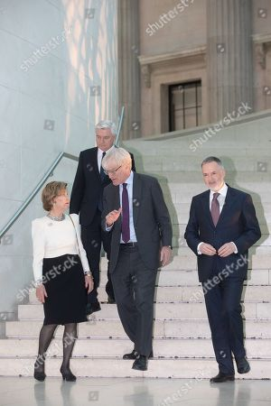 Queen Sonja of Norway, Sir Richard Lambert and Hertwig Fischer, Director of the British Museumm, at the preview of the Edvard Munch exhibition 'Love and Angst' at the British Museum