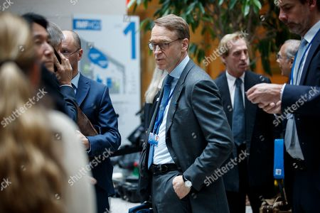 President of the Deutsche Bundesbank Jens Weidmann (C) prior to the G-20 meeting at IMF headquarters in Washington, DC, USA, 12  April 2019. International Monetary Fund World Bank Group Spring Meetings run 09-13 April 2019.