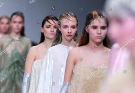 Stock Picture of Models present creations by Italian fashion designer Alberto Zambelli