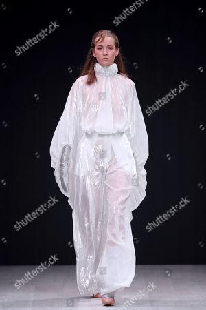 Stock Photo of A model presents a creation by Italian fashion designer Alberto Zambelli