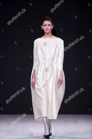 Stock Image of A model presents a creation by Italian fashion designer Alberto Zambelli