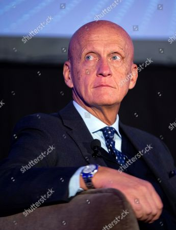Stock Image of FIFA chief refereeing officer Pierluigi Collina of Italy attends the conference 'Refereeing and VAR: experiences, application and development' in the frane of the World Soccer Congress organized by the Spanish Royal Soccer Federation (RFEF) in Barcelona, Spain, 12 April 2019.