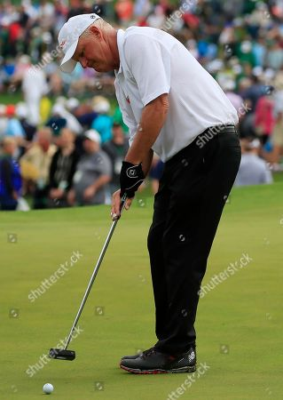 Stock Image of Sandy Lyle of Scotland putts on the seventh hole during the second round of the 2019 Masters Tournament at the Augusta National Golf Club in Augusta, Georgia, USA, 12 April 2019. The 2019 Masters Tournament is held 11 April through 14 April 2019.