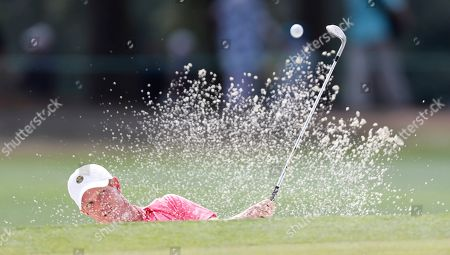 Kevin O'Connell of the US hits out of a bunker on the seventeenth hole during the second round of the 2019 Masters Tournament at the Augusta National Golf Club in Augusta, Georgia, USA, 12 April 2019. The 2019 Masters Tournament is held 11 April through 14 April 2019.