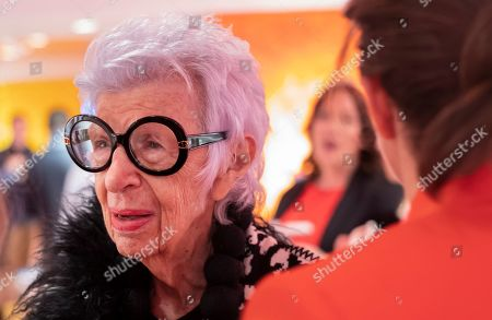 Stock Image of Fashion icon Iris Apfel attends the opening of Story at Macy's, in New York