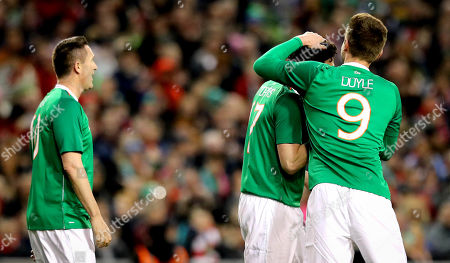 Republic of Ireland Legends vs Liverpool Legends. Republic of Ireland Legends Keith Andrews celebrates scoring with Kevin Doyle