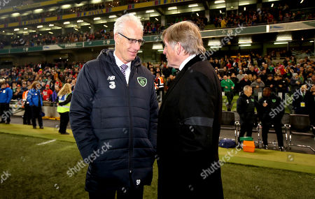 Republic of Ireland Legends vs Liverpool Legends. Republic of Ireland Legends manager Mick McCarthy with Liverpool Legends manager Sir Kenny Dalglish