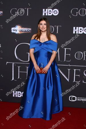 Hannah Murray poses for photographers at the premiere of season eight of the television show 'Game of Thrones' in Belfast, Northern Ireland