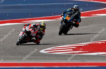 Dynavolt Intact GP Team rider Tom Luthi of Switzerland (L) in action during the Moto2 practice at the Red Bull Grand Prix of the Americas at Circuit of the Americas in Austin, Texas, USA, 12 April 2019.
