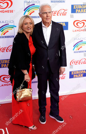 German former soccer player Franz Beckenbauer (R) and his wife Brigitte (L) attend the Radio Regenbogen Award ceremony in Rust near Freiburg, Germany, 12 April 2019. The Radio Regenbogen Award is one of the most important media awards of the German radio scene.
